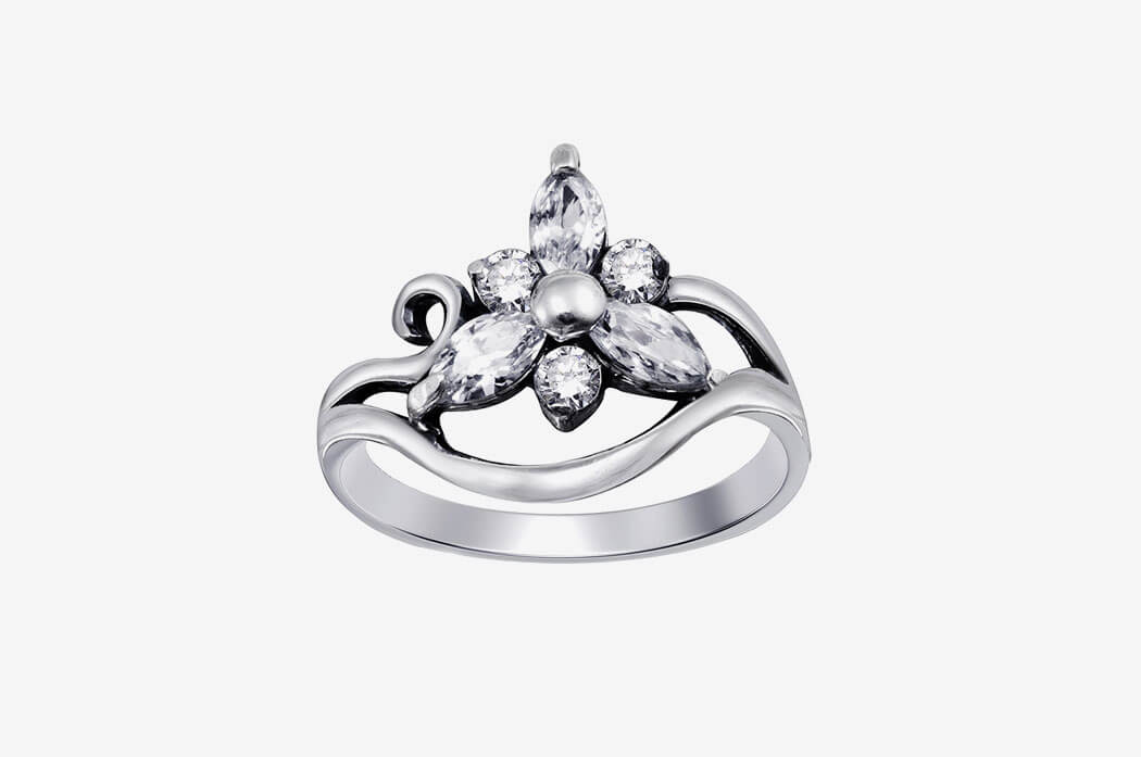 Petite Pave Diamond Engagement Ring